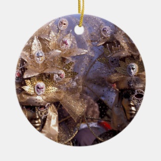 Venetian Couple With Golden Carnival Costumes Ceramic Ornament