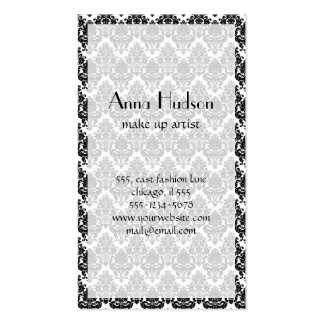 Venetian Damask, Ornaments, Swirls - Black White Pack Of Standard Business Cards