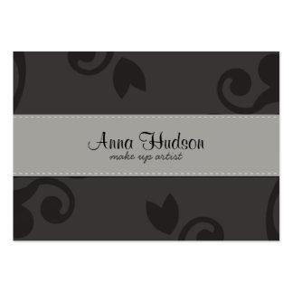Venetian Damask, Ornaments, Swirls - Gray Black Business Card Templates
