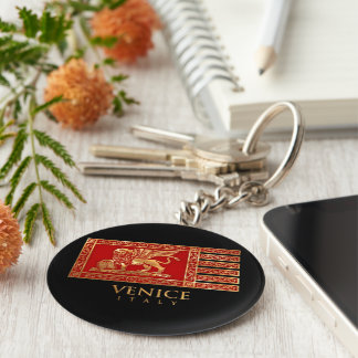 Venetian Flag Basic Round Button Key Ring