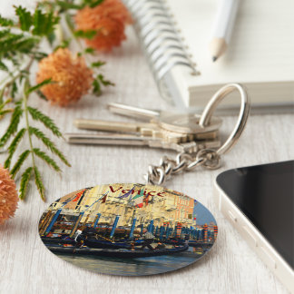 Venetian gondoliers basic round button key ring