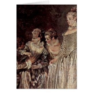 Venetian Holidays Detail By Antoine Watteau Card