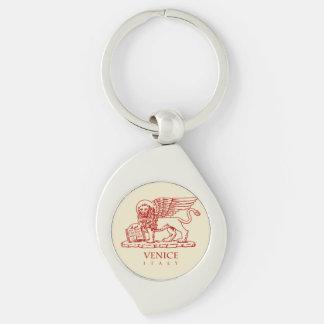 Venetian Lion Silver-Colored Swirl Key Ring