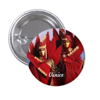 Venetian Lovers With Red Carnival Costumes 3 Cm Round Badge