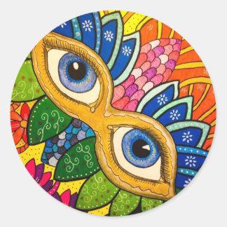 Venetian mask classic round sticker