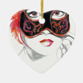 Venetian Mask Girl Ruby Ceramic Ornament