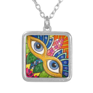 Venetian mask silver plated necklace