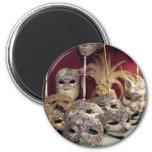Venetian Masks 6 Cm Round Magnet