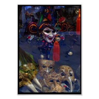 Venetian Masks in the Window Poster