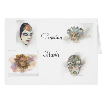 Venetian Masks Notecards by Mary Dunham Walters Card