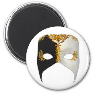 Venetian Masque: Black, White and Gold Fridge Magnet