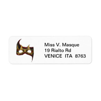 Venetian Masque: Gold and Red Rose Return Address Label