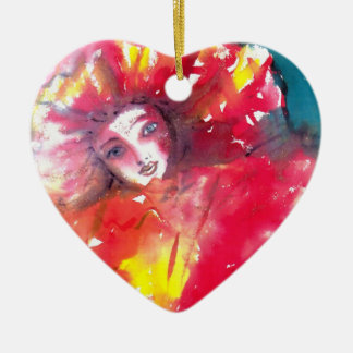 VENETIAN MASQUERADE FACES - MASK IN RED Heart Ceramic Heart Decoration