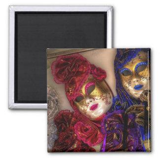 Venetian Masquerade Masks Square Magnet