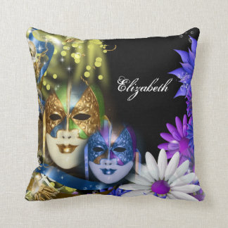 Venetian masquerade quinceanera masks PERSONALIZE Throw Pillow