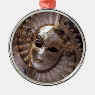 Venetian Masquerade Silver-Colored Round Decoration