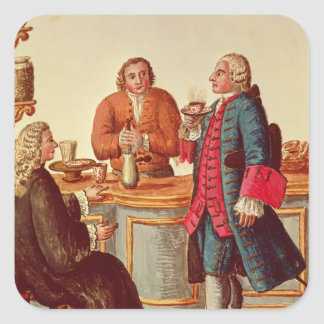 Venetian Noblemen in a Cafe Square Sticker