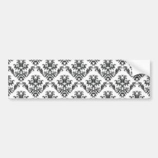 Venetian Ornament Antique Damask Black, White Bumper Stickers