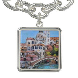 Venezia -Square Charm Bracelet, Silver Plated