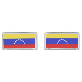 Venezuala Flag Silver Finish Cuff Links