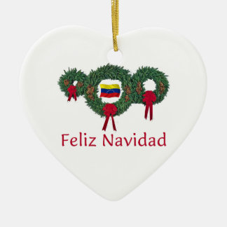 Venezuela Christmas 2 Ceramic Heart Decoration