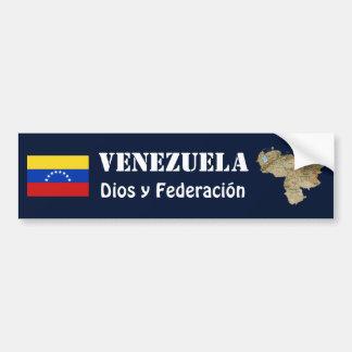 Venezuela Flag + Map Bumper Sticker