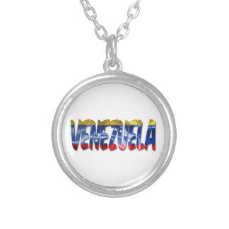 Venezuela Word With Flag Texture Necklace