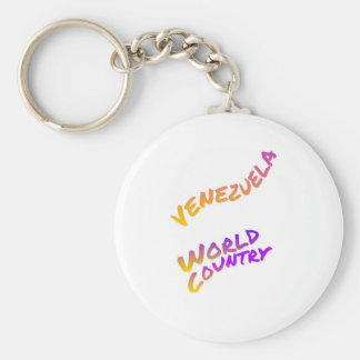 Venezuela world country, colorful text art key ring