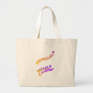 Venezuela world country, colorful text art large tote bag