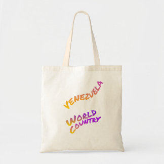 Venezuela world country, colorful text art tote bag