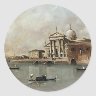 Venice: A View of the Church by Francesco Guardi Classic Round Sticker