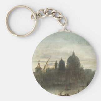 Venice at Dusk by Miklos Barabas Basic Round Button Key Ring