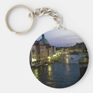 Venice at night basic round button key ring