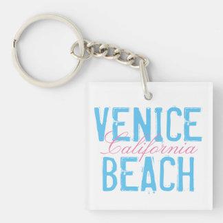 Venice Beach California Double-Sided Square Acrylic Key Ring