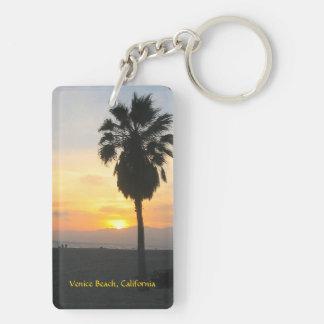 Venice Beach California Sunset Double-Sided Rectangular Acrylic Key Ring