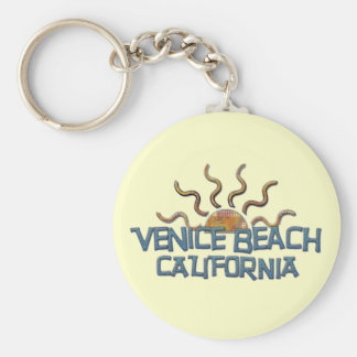 Venice Beach Keychain! Basic Round Button Key Ring