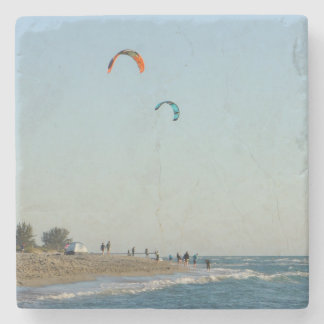 Venice Beach Kite Surfers Stone Coaster