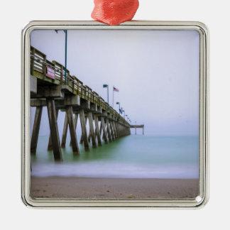 Venice Beach Pier on a Foggy Day Metal Ornament
