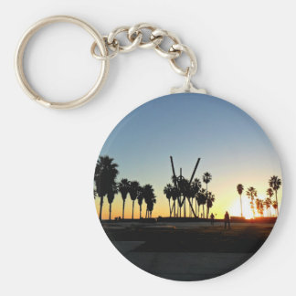 Venice Beach Sunset Basic Round Button Key Ring
