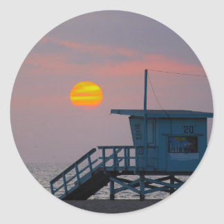 Venice Beach Sunset Classic Round Sticker
