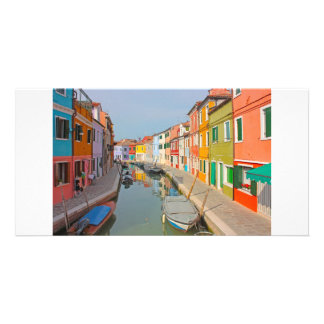 Venice, Burano island canal, small colored houses Photo Cards