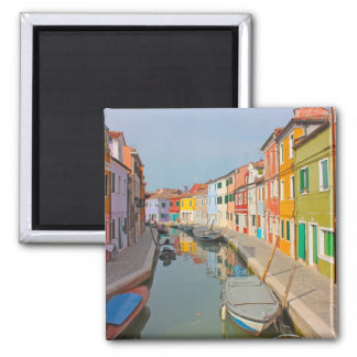 Venice, Burano island canal, small colored houses Square Magnet