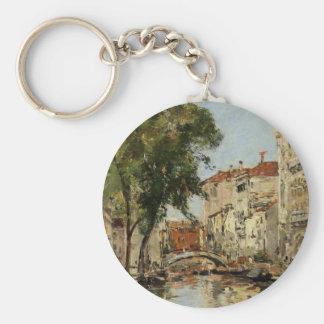 Venice by Eugene Boudin Basic Round Button Key Ring