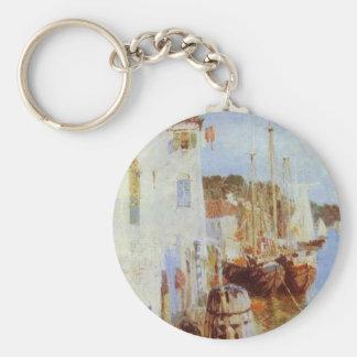 Venice by Vasily Polenov Basic Round Button Key Ring