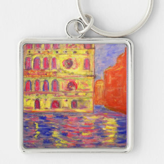 venice canal light Silver-Colored square key ring