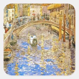 Venice Canal Scene (Italy)- by Prendergast Square Sticker