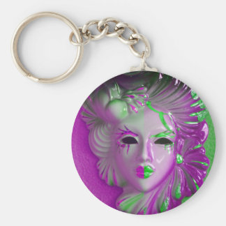 Venice Carnival Mask Basic Round Button Key Ring