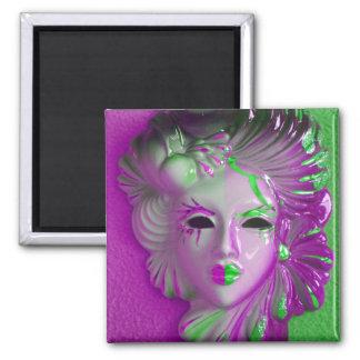 Venice Carnival Mask Square Magnet