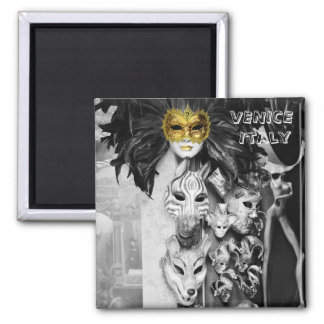 Venice, Carnival Masks - Italy (Fridge Magnet) Square Magnet