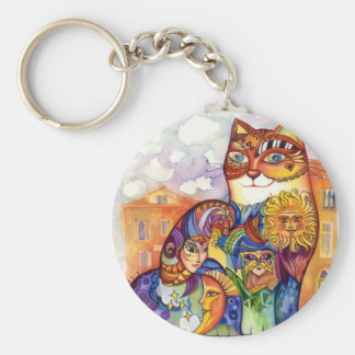 Venice cat basic round button key ring